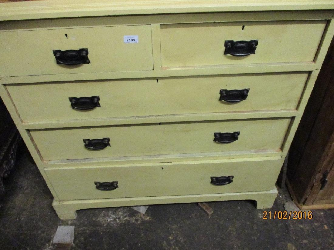 Painted pine chest having two short over three long
