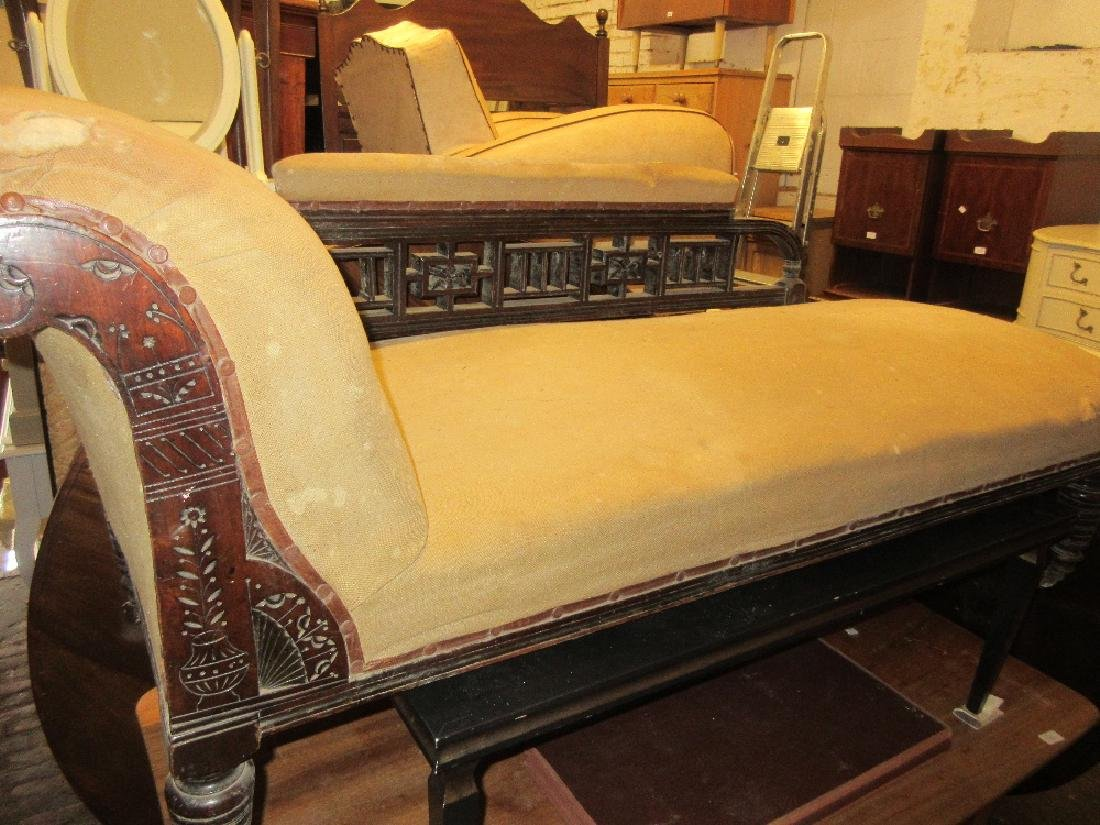 19th Century mahogany chaise longue having carved