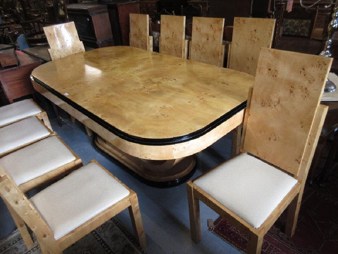 Reproduction burr maple Art Deco style dining room