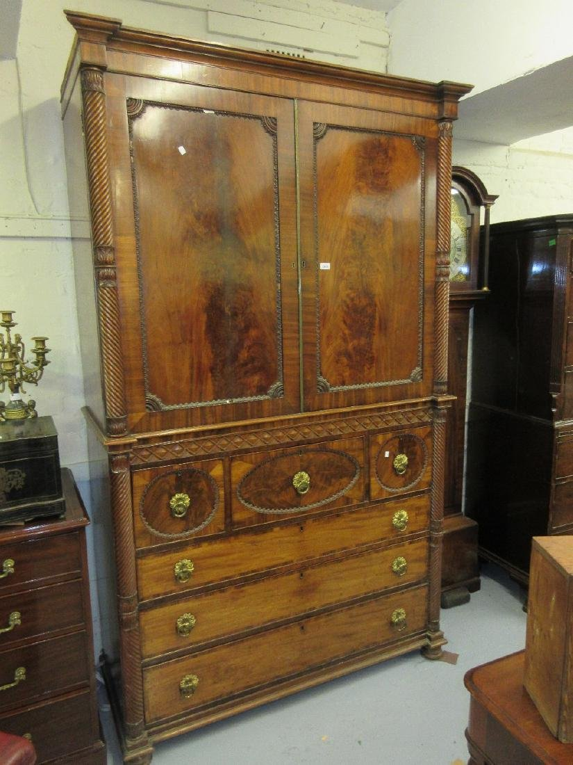 Fine quality William IV figured mahogany linen press,