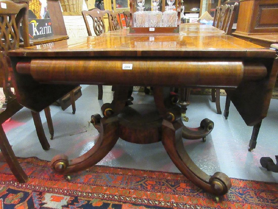 Late Regency rosewood and brass inlaid drop-leaf sofa