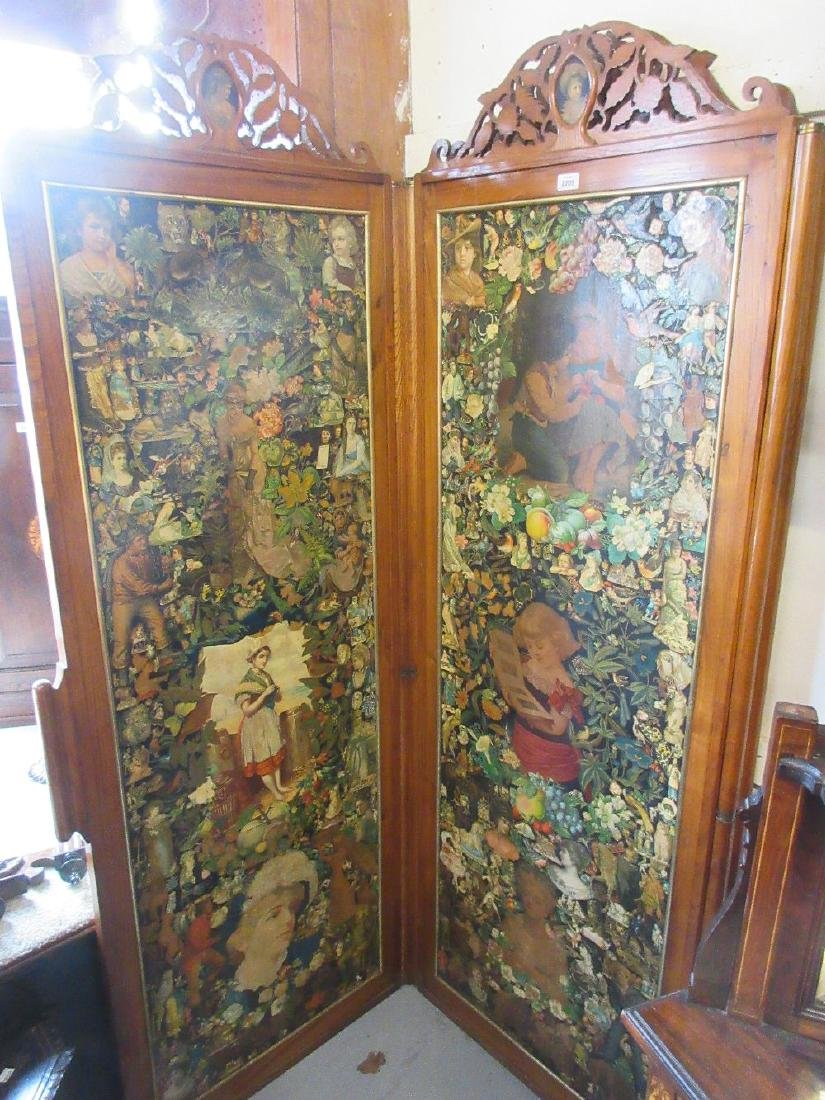 Victorian ash room divider screen, the three folding