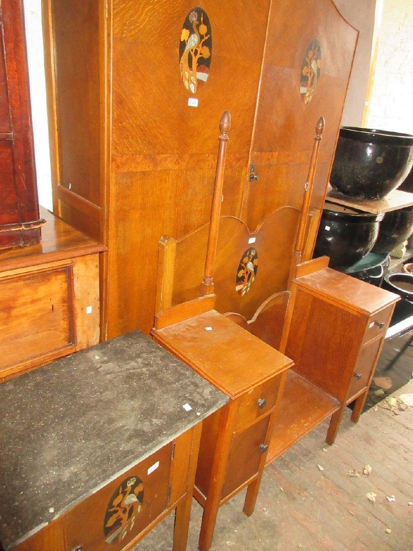 Art Deco oak bedroom suite, comprising:- wardrobe,