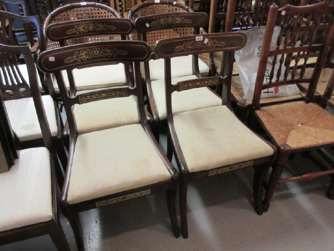 Set of four Regency mahogany rosewood and brass inlaid