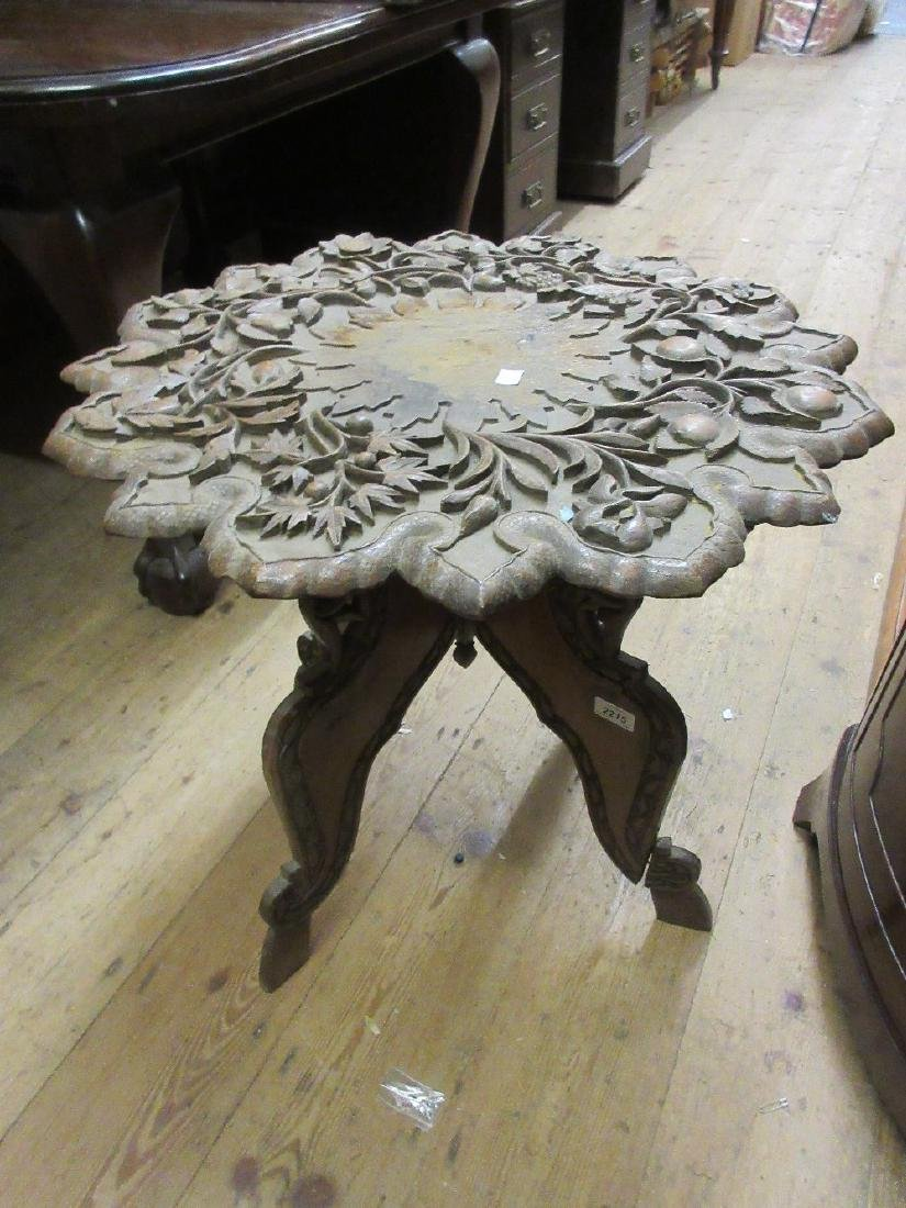 19th Century Indian carved hardwood occasional table