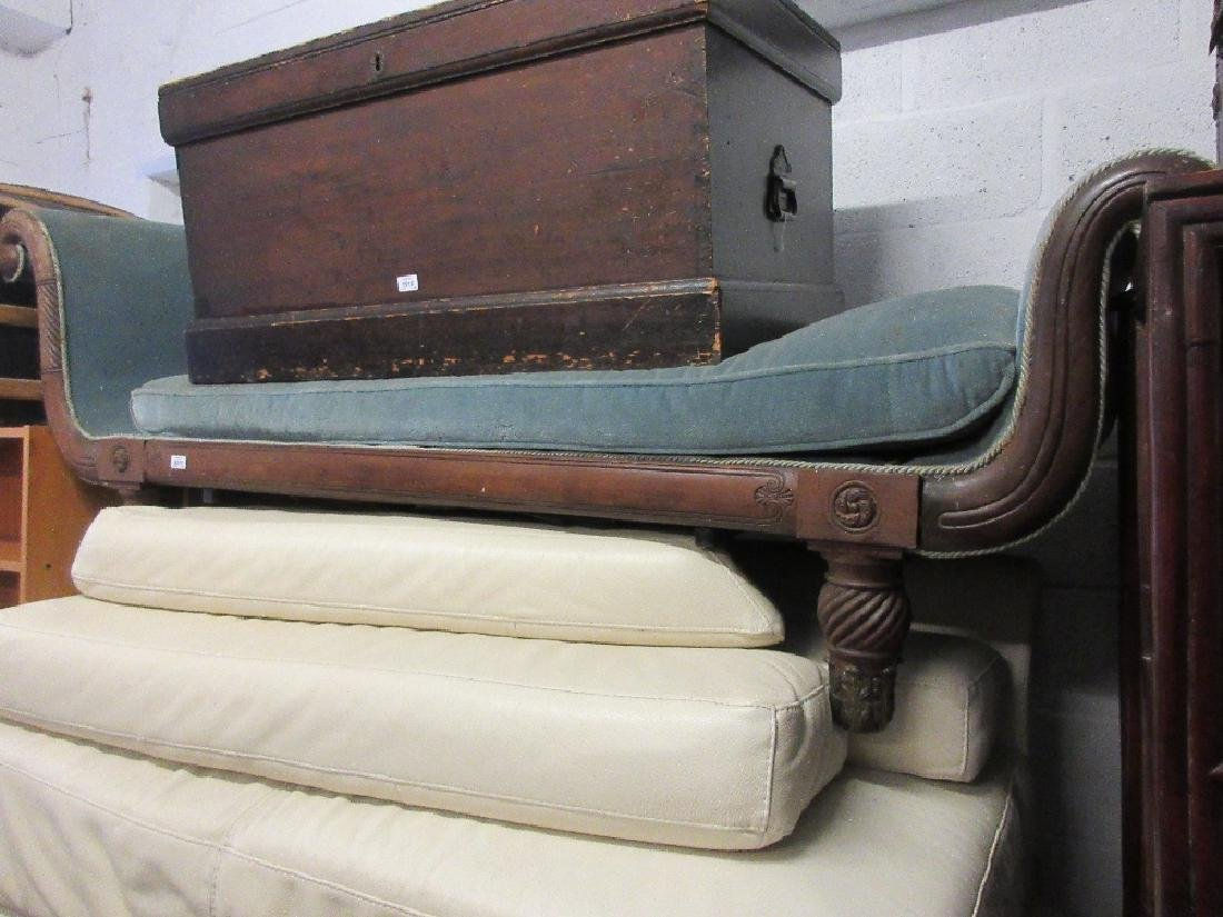 Regency mahogany upholstered and caned scroll end sofa