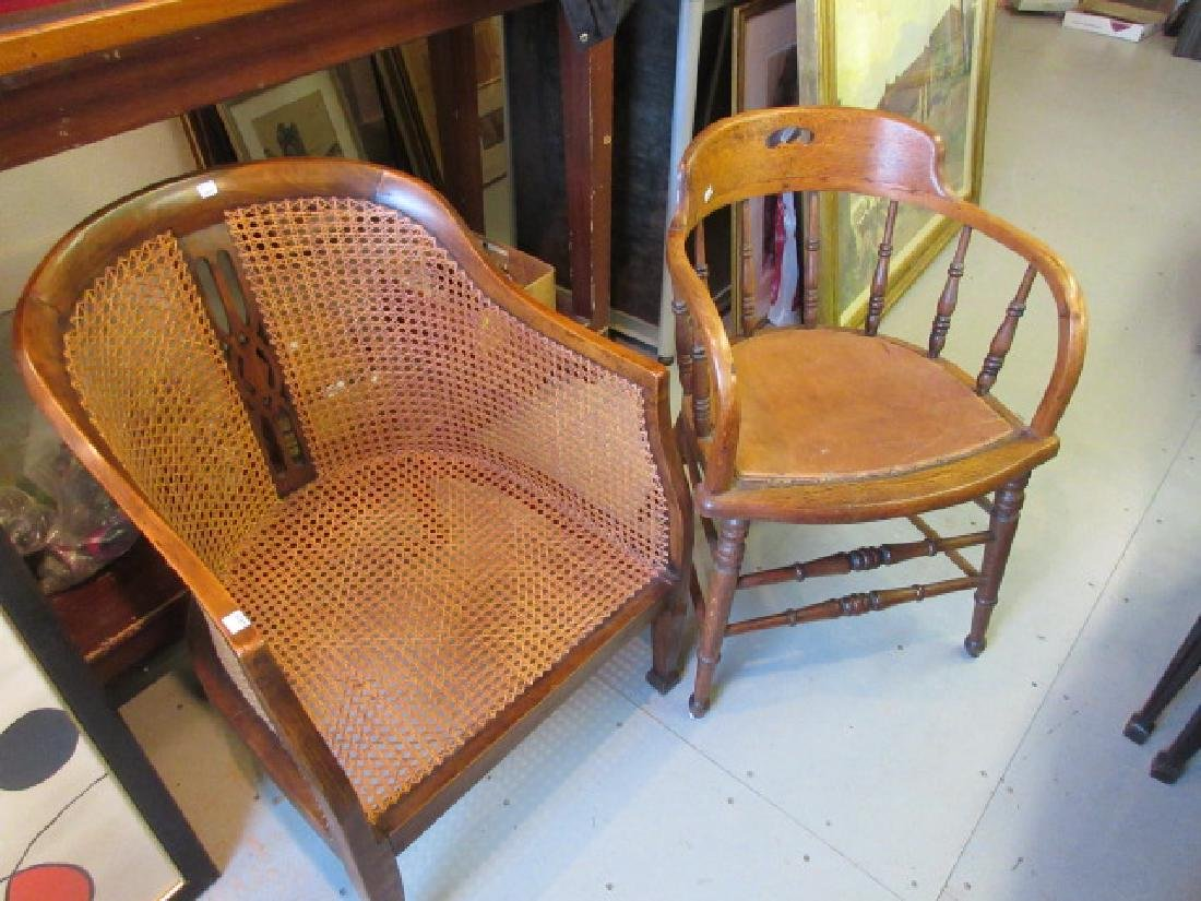 Beechwood tub chair with cane back and seat, an