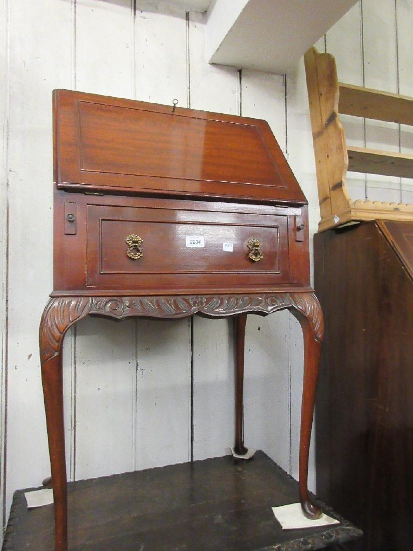 Small early to mid 20th Century mahogany bureau on