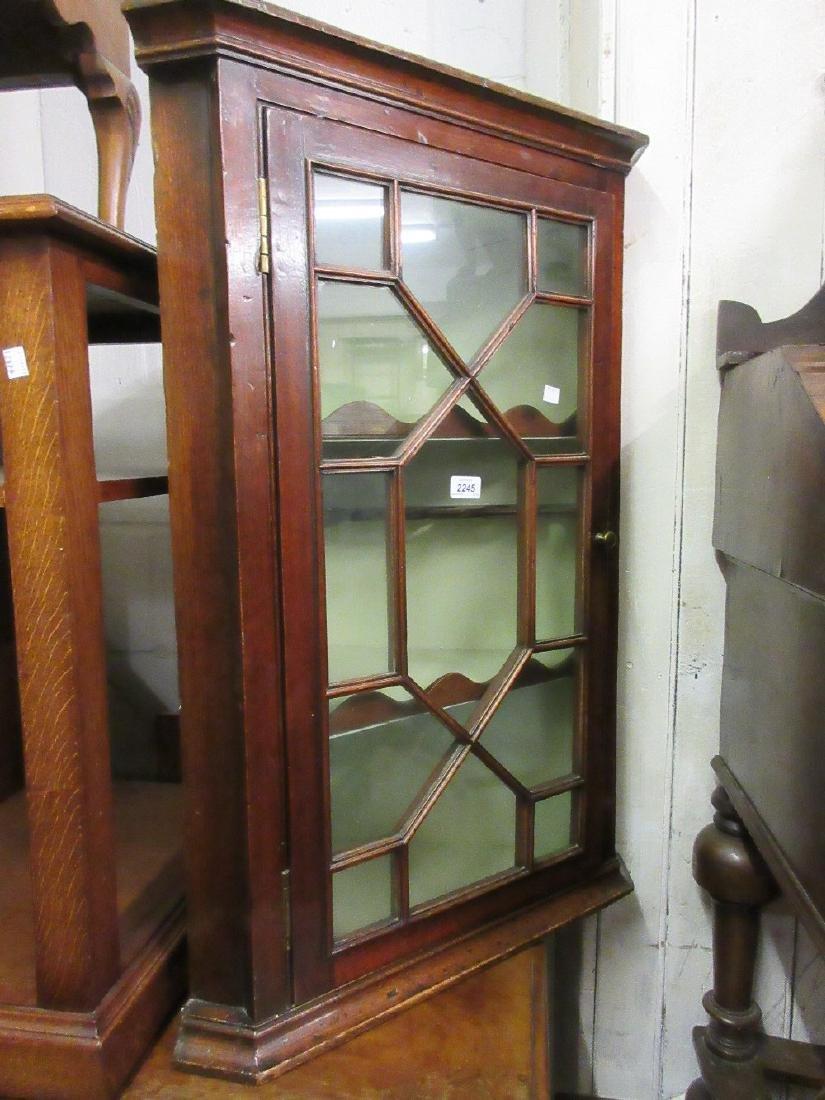 19th Century mahogany hanging corner cabinet with bar