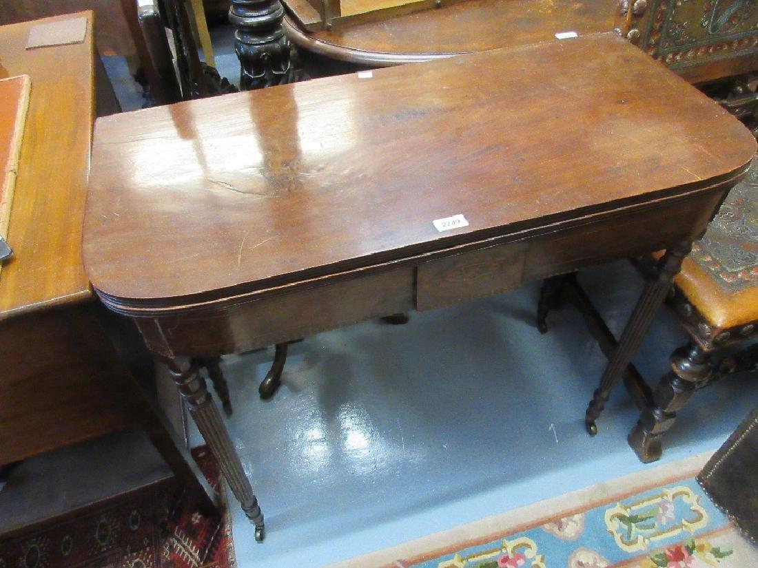 George III mahogany rectangular fold-over tea table