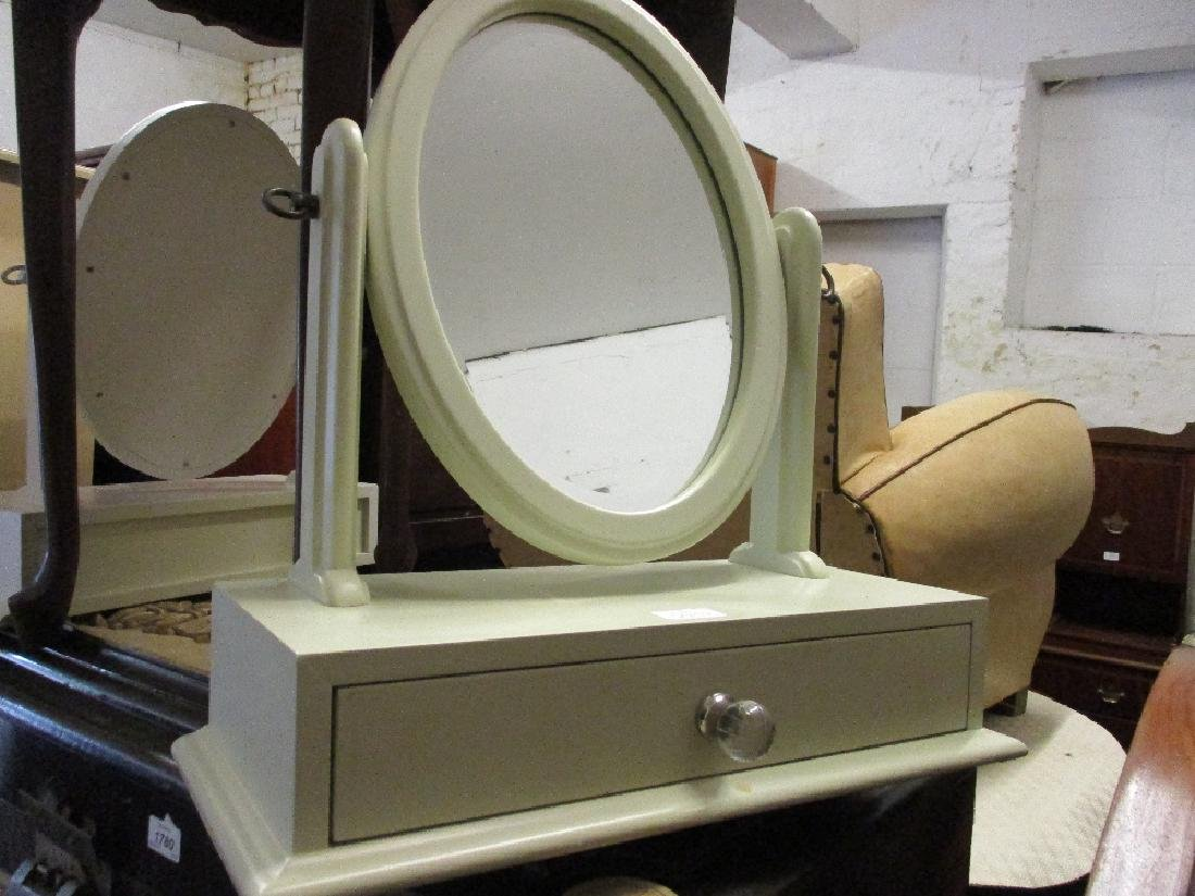 Similar white finished three drawer dressing table with
