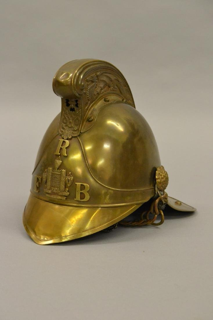 Reigate Fire Brigade brass firemens helmet with dragon