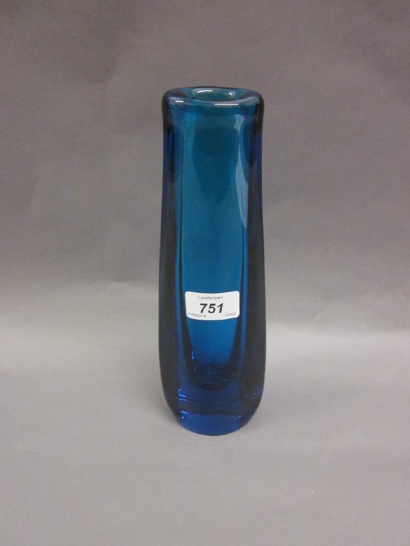 Daum blue free form Art glass vase, 10.5ins high