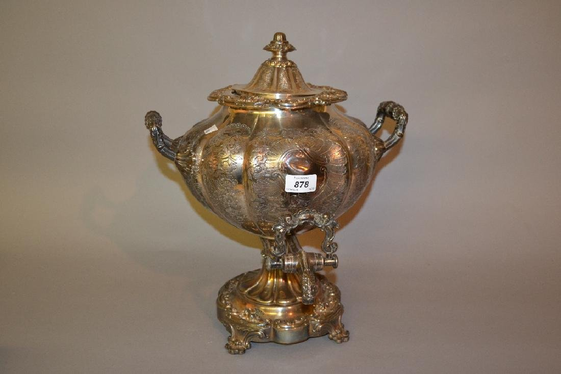 Large 19th Century plate on copper samovar with