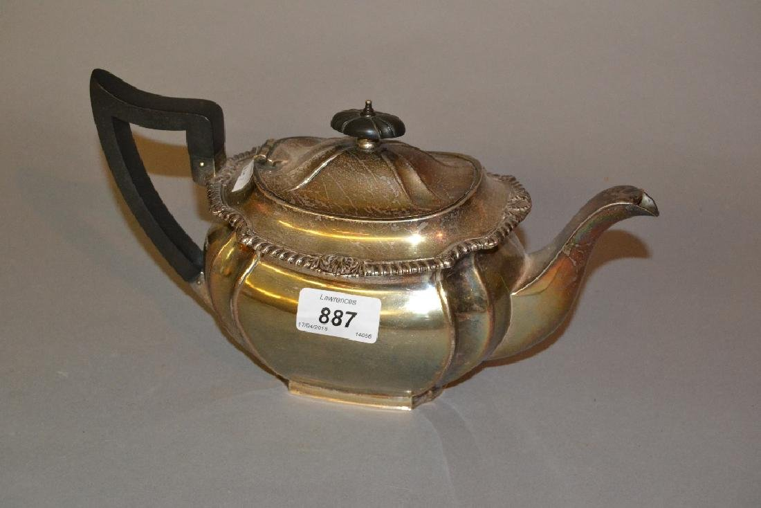 Sheffield silver teapot of oval fluted design with
