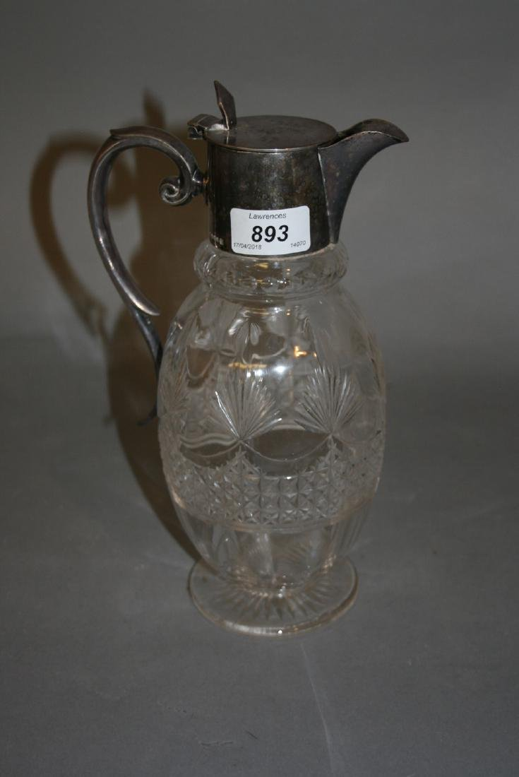 Cut glass and silver plate mounted claret jug