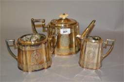 Victorian three piece silver plated teaset with