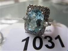 18ct White gold aquamarine and diamond ring the