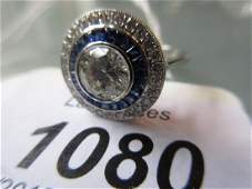 18ct White gold sapphire and diamond target style ring,