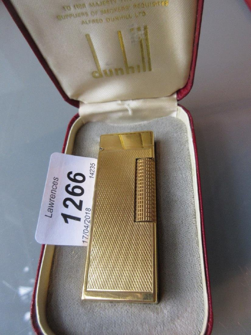 Dunhill gold plated cigarette lighter in original box