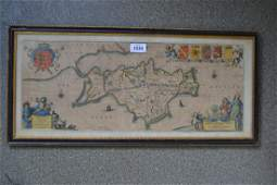 Framed antique hand coloured map of the Isle of Wight