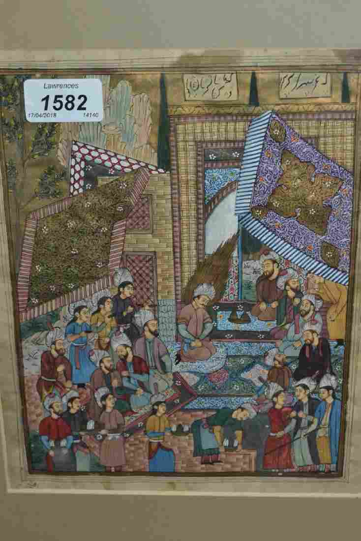 Two Indo / Persian school paintings, figures at a