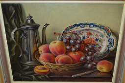 Constance Cooper, oil on canvas, still life, fruit and