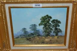 20th Century oil on canvas board harvest scene with
