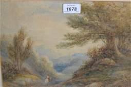 19th Century English school watercolour figure on