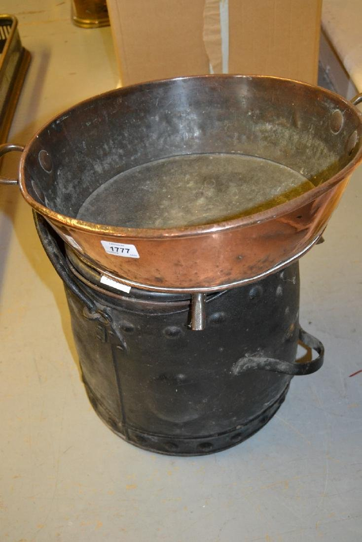 19th Century copper helmet shaped coal scuttle together