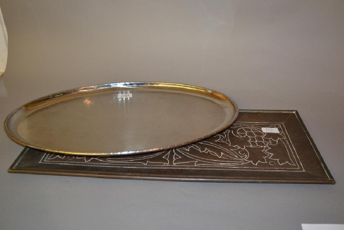 Keswick ' Staybrite ' oval beaten metal tray, together