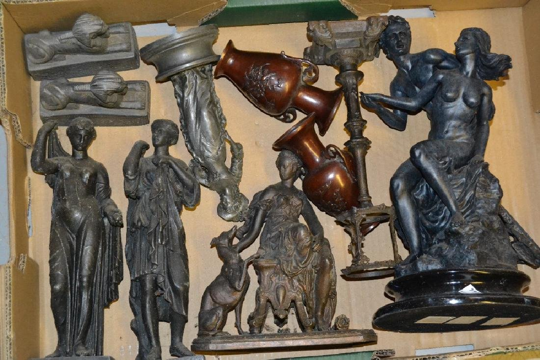 Pair of patinated metal classical figures, together