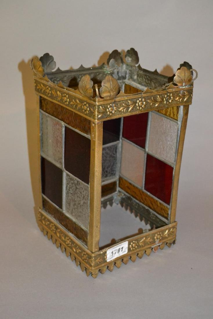 Edwardian embossed brass and leaded glass hall lantern