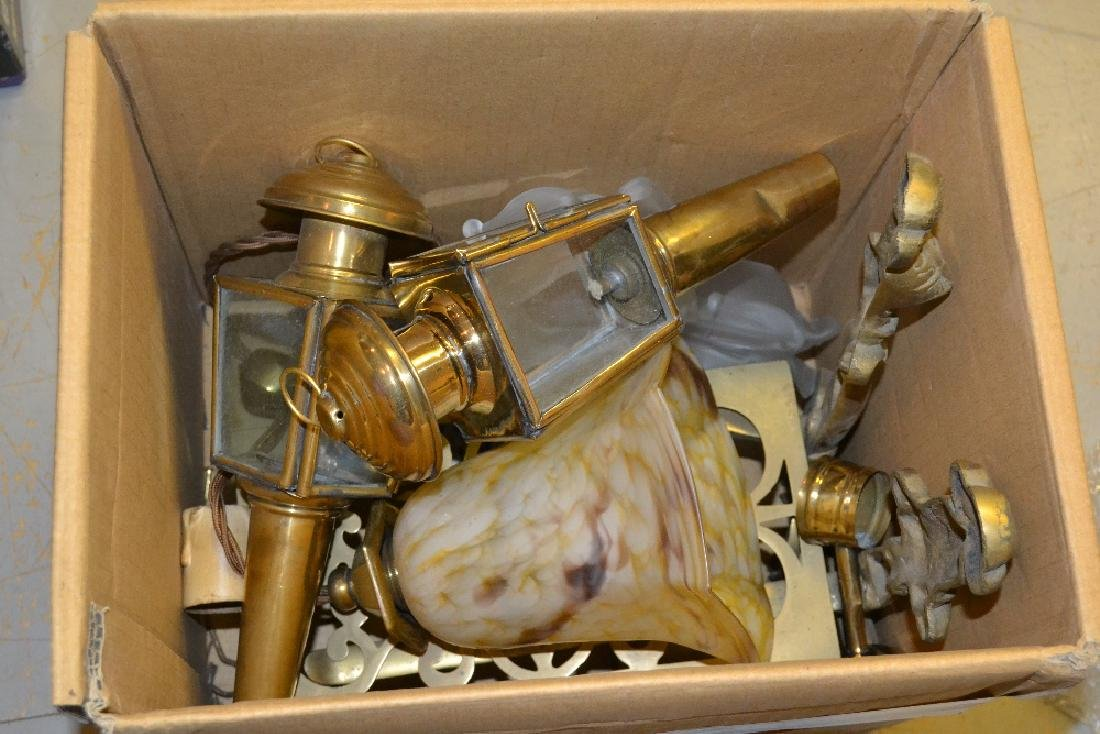Pair of small brass carriage lamps, brass trivit and