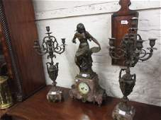 Large 19th Century French patinated spelter and rouge