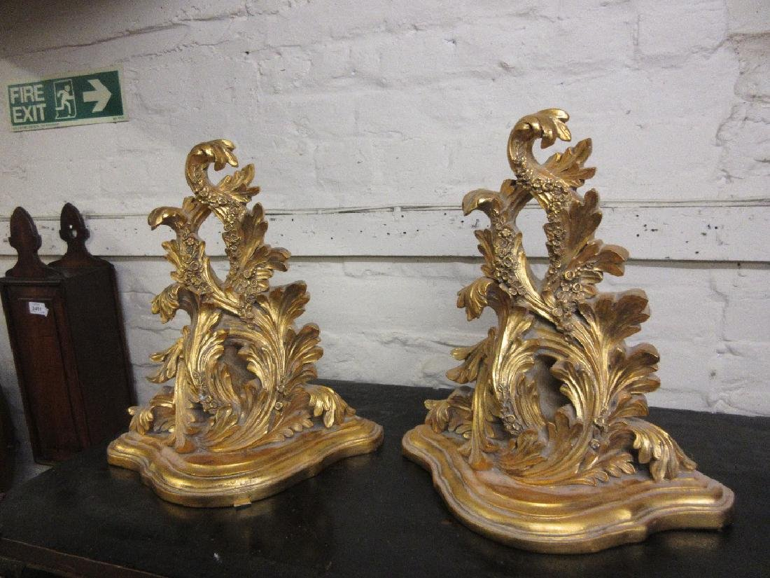 Pair of 20th Century gilt composition wall brackets
