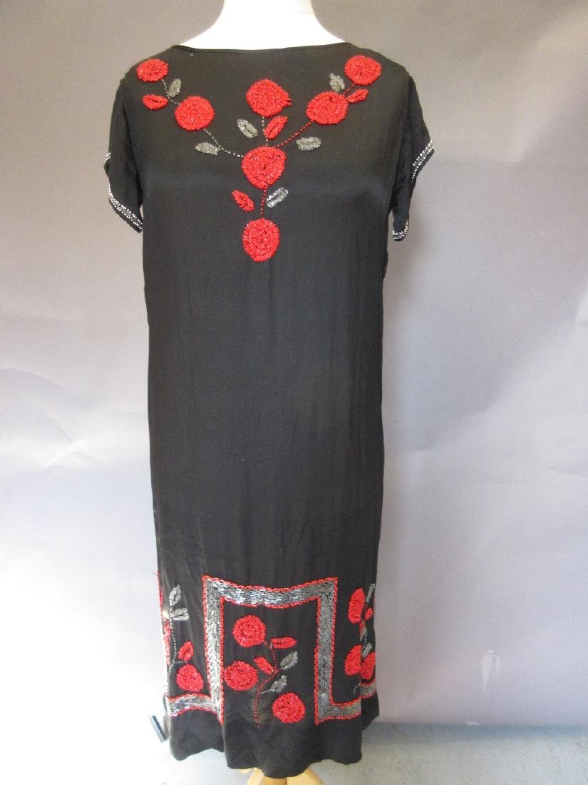 1920's black and red beadwork flapper dress (at fault),