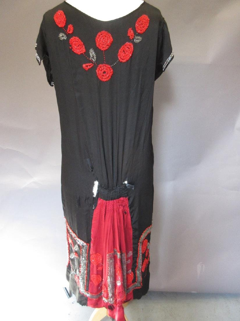 1920's black and red beadwork flapper dress (at fault), - 2