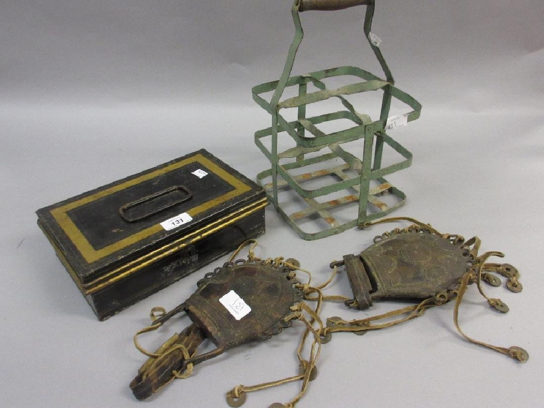 Tin cash box, metal bottle carrier and two bronze and