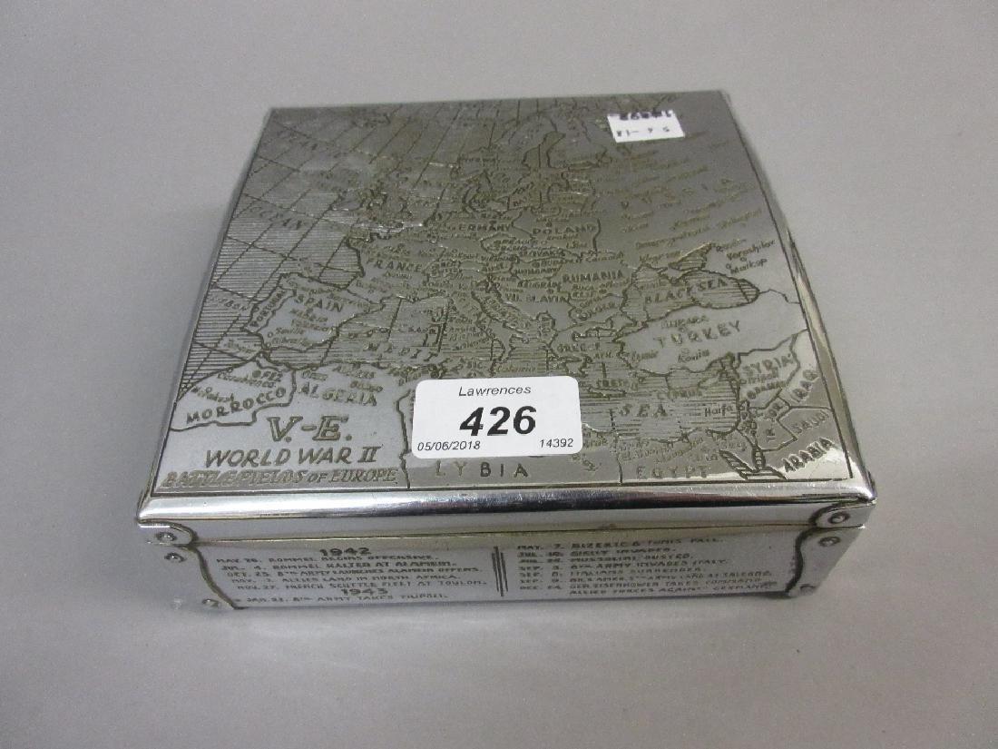 Commemorative plated box inscribed ' V.E. World War II