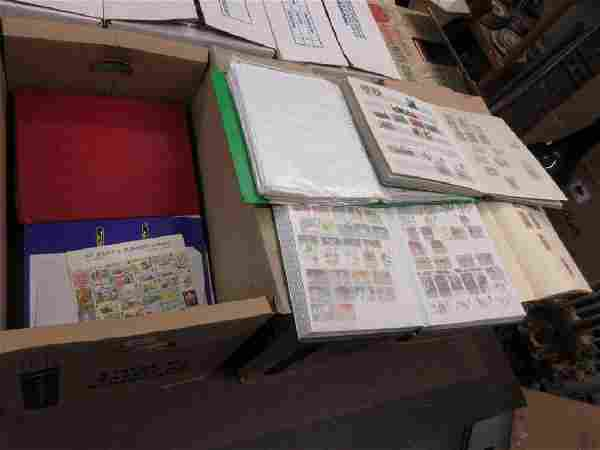 Three boxes containing a large collection of World and