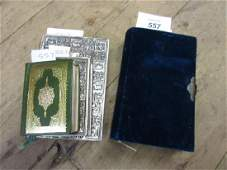 Silver mounted velvet Common Prayer book together with