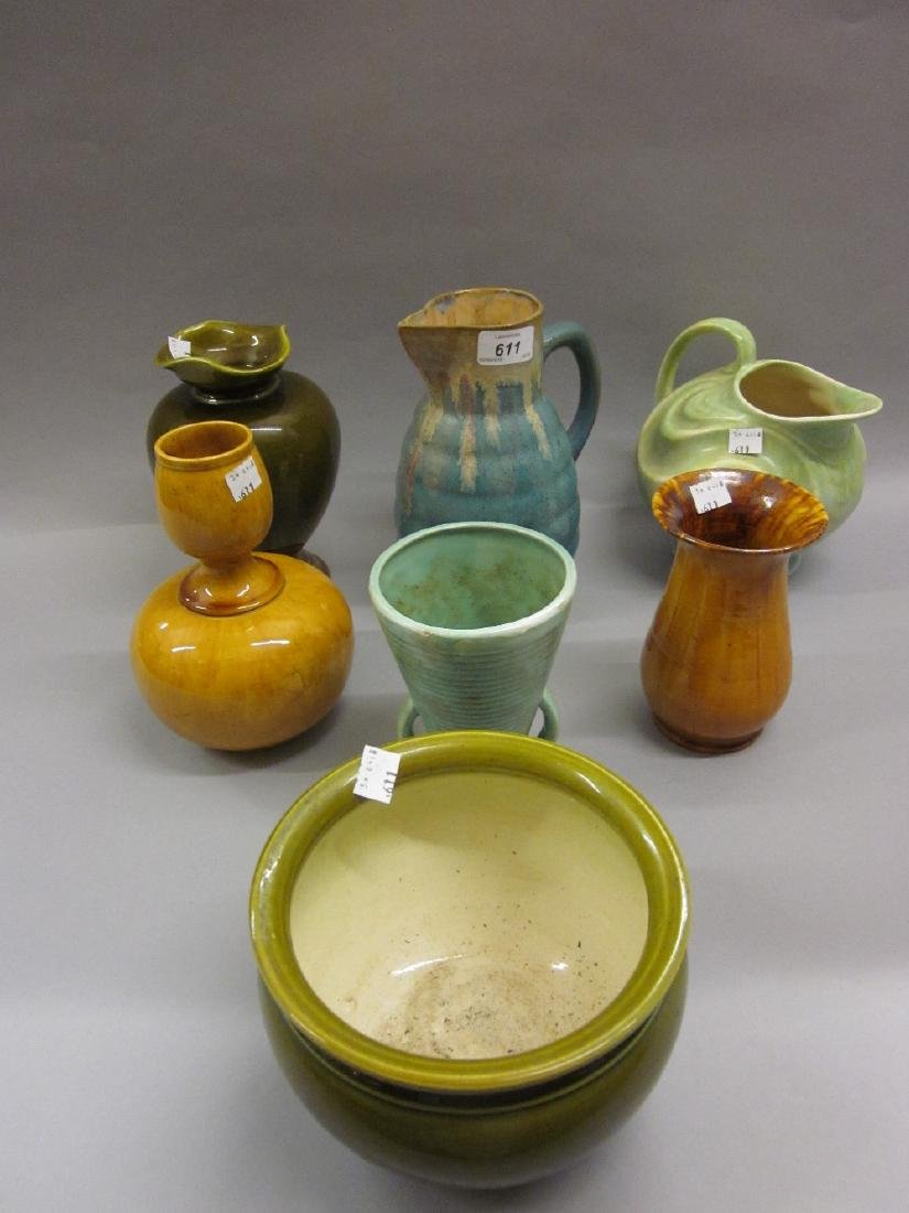 Sylvac pottery jug and six other items of Art Pottery