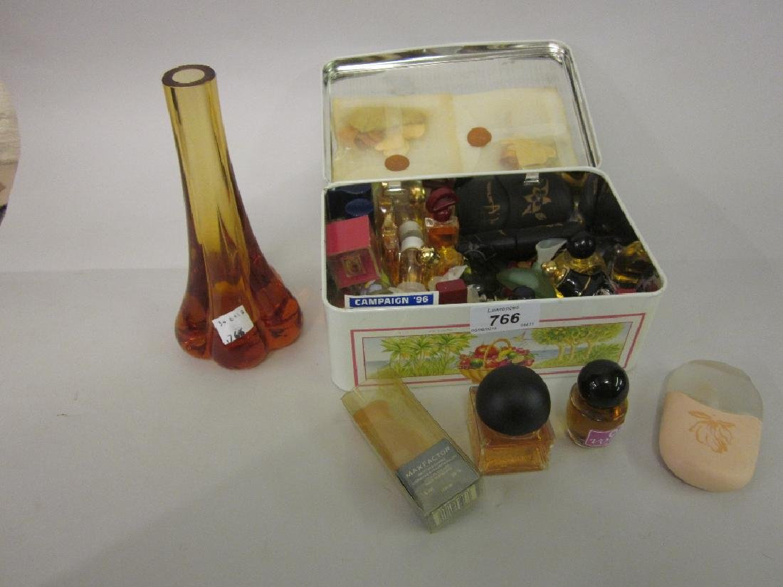 Quantity of various glass scent bottles