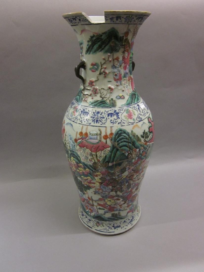 Large Chinese famille verte porcelain vase painted with