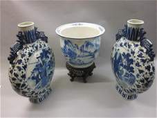 Pair of large 20th Century Chinese porcelain blue and