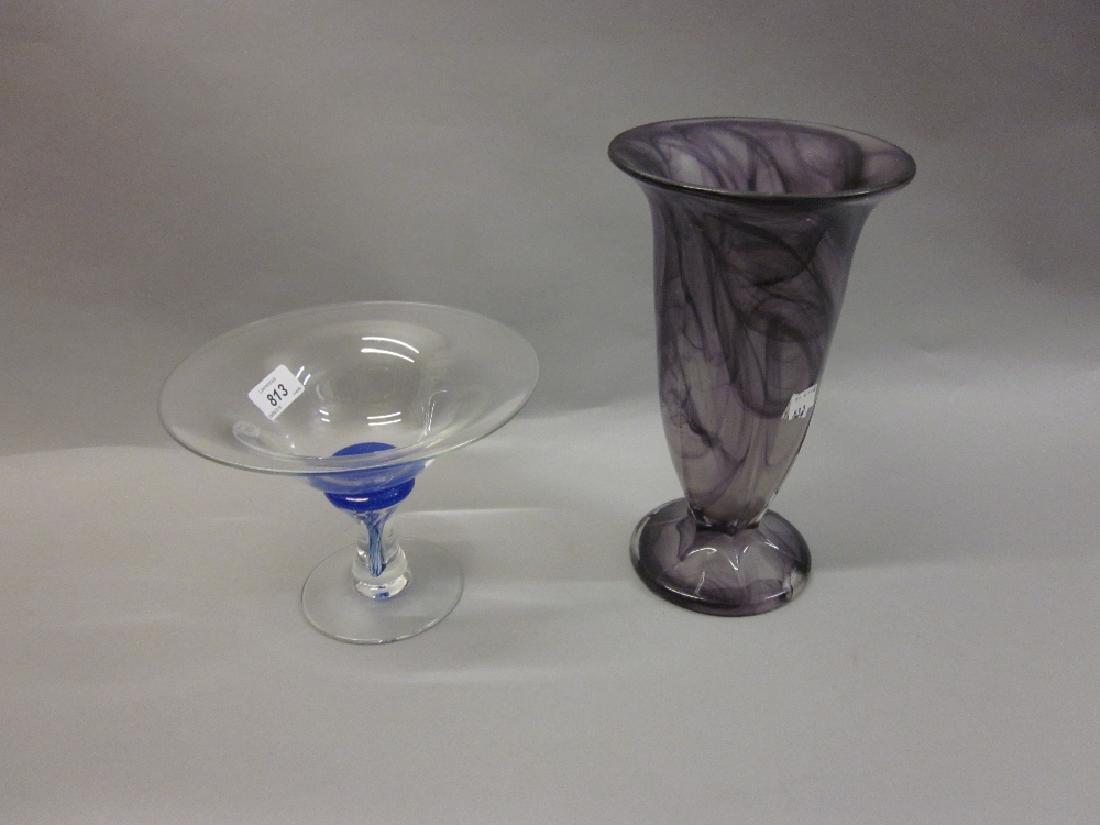 20th Century Art glass comport and a modern Italian Art