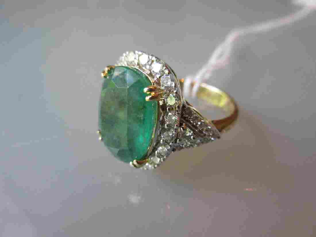 18ct Yellow gold large oval emerald and diamond cluster