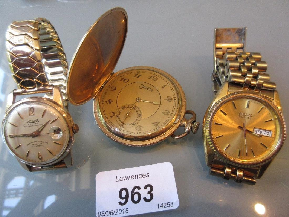 Two gentlemens wristwatches by Seiko and Allaine and a