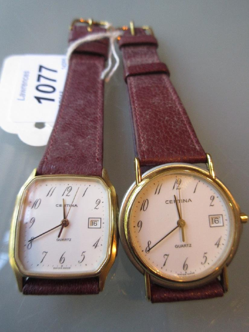 Two gentlemens Certina quartz wristwatches with leather